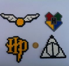 Harry Potter Themed Perler Sprites 4 Pack by TieDyePixels on Etsy Perler Bead Designs, Hama Beads Design, Pearler Bead Patterns, Perler Bead Art, Perler Patterns, Owl Perler, Theme Harry Potter, Harry Potter Diy, Harry Potter Symbols