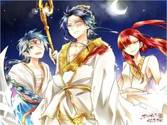 Magi: The Labyrinth of Magic// Ren Hakuryuu, Aladin and Morgiana