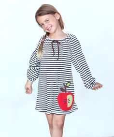 This Charcoal & Ivory Stripe Apple Shift Dress - Toddler & Girls is perfect! #zulilyfinds