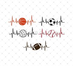 Heartbeat Sport Balls SVG Cut Files for Cricut and Silhouette