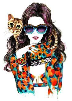 Watercolour Fashion Illustration 13x16 print  Kenzo by sunnygu, $50.00
