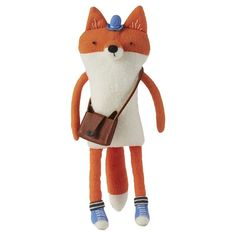 Sly fox has a sense for good style. He has his high-top sneakers laced up tight, trusty satchel strapped on just right and completes his look with a blue top hat. Softies, Plushies, Doll Maker, Best Friends Forever, Soft Dolls, Diy Pillows, Soft Sculpture, Sewing Projects, Crafty