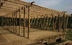 this school is so beautiful and hand made. what an amazing project.imagine those kids going to school in this colorful, sunny, natura. Bamboo Architecture, Concept Architecture, Architecture Details, Bamboo Building, Natural Building, Bamboo Structure, Concrete Structure, Rural Studio, Kids Going To School