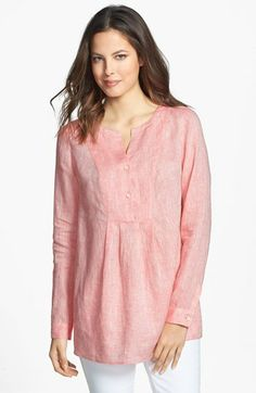 Lafayette 148 New York Pleat Front Linen Tunic available at #Nordstrom