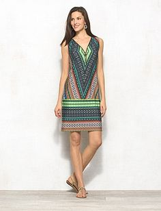 928b81fc9fb Zip-Front Tribal Print Dress