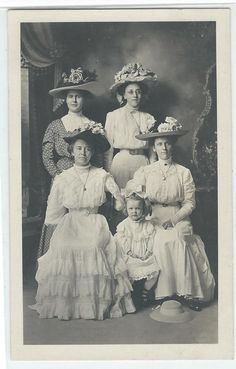 RPPC Photo Studio Postcard Ladies in Large Fancy Hats Jewelry Dress'c 1908-1918