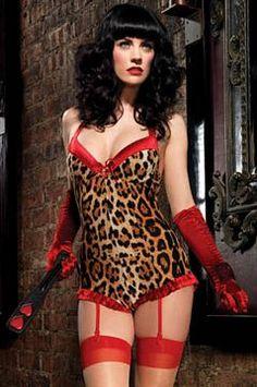 Leg Avenue Burlesque Lingerie 86521 - Leopard Print Brushed Spandex  Underwire Romper Teddy with Red Satin Trim   Garter Straps dbdc1f16a