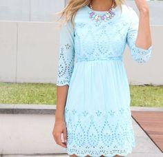 Mint blue spring summer dress