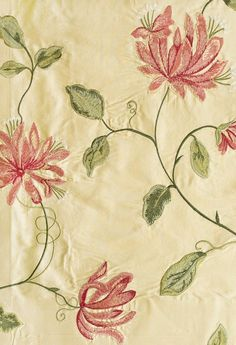 Honeysuckle Embroidered Silk Curtain Fabric Beautiful cream silk with embroidered honeysuckle design in coral red and green.