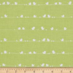 Riley Blake Enchant Birds Green from @fabricdotcom  Designed by Cinderberry Stitches for Riley Blake, this fabric is perfect for quilting, apparel and home décor accents.  Colors include white on a green background.