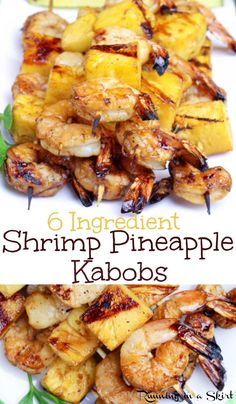 6 Ingredient Shrimp Kabobs with Pineapple recipe. These are the best healthy Shrimp Pineapple Kabobs on the grill - easy, simple and delicious seafood shrimp skewers for parties and perfect for a summer meal or cookout. use coconut aminos instead of soy s Fish Recipes, Seafood Recipes, Gourmet Recipes, Cooking Recipes, Healthy Recipes, Shrimp Kabob Recipes, Bbq Shrimp Skewers, Pineapple Recipes Healthy, Grilled Shrimp Kabobs