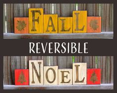 Fall Decor, Christmas Decor, Rustic Fall Wood Blocks, Rustic Noel Wood Blocks, Rustic Fall Wood Decor