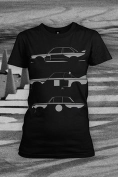 BMW has a proud history in motorsports and Enthusiast Apparel celebrates with this silhouette shirt of three of the most famous BMW Motorsports race cars.