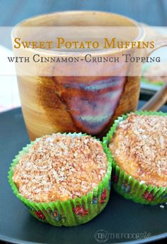 Sweet Potato Muffins with cinnamon crunch topping made with leftover Thanksgiving casserole dish sweet potatoes #Bake #Muffins #SweetPotato | www.thefoodieaffair.com
