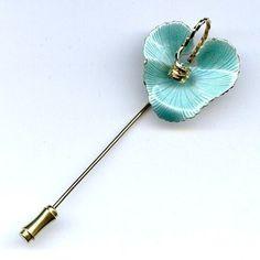 Vtg Anthurium Flower Aqua Green Enamel Guilloche 3D Gold Tone Stick Pin  $14.95