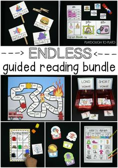 Endless Guided Reading Bundle! So many guided reading activities in one spot. ABC games, sight word activities, word family centers, digraph games... Awesome for differentiating in preschool, kindergarten or first grade.