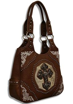 Brown Western Cross Purse Genuine Cowhide Rhinestone Cross-Brown, Western, Cross, Purse, Genuine, Cowhide, Rhinestone ,Cross