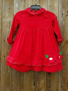 Florence Eiseman Size 18 Mths Red Corduroy Holiday Christmas Dress #FlorenceEiseman