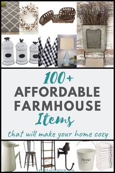 100+ Affordable Farmhouse Items That Will Make Your Home Cozy! Bring a little farmhouse style into your home - prices from $2-$100!  #farmhouse #interiordesign
