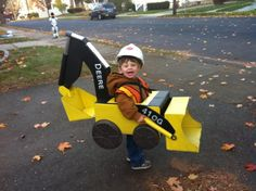 Julien's Backhoe Costume 2013 (cardboard, spraypaint, duct tape and pipe insulation)