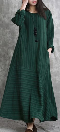 Elegant blackish green long linen dresses casual striped gown boutique patchwork caftans
