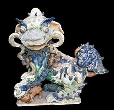 "Ming Glazed Sculptures of a Fu Dogs - H.1054/5 Origin: China Circa: 1368 AD to 1644 AD  Dimensions: 19"" (48.3cm) high  Collection: Chinese Medium: Glazed Terracotta"