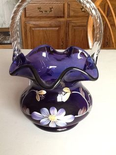 Fenton Glass 1998 ROYAL PURPLE Historic Coll BASKET #2095/2950 Colonial Scroll in Pottery & Glass | eBay