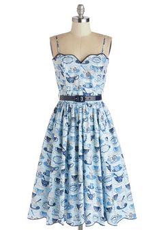 Tea for Yourself Dress by Bernie Dexter - Mid-length, Cotton, Woven, Blue, Novelty Print, Belted, Daytime Party, Spaghetti Straps, Better, S...