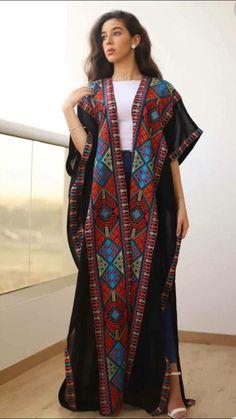 Jordanian Palestinian THOBE / KAFTAN (Embroidered) bisht stitch's sometime is different Modern Hijab Fashion, Arab Fashion, Fashion Women, Modesty Fashion, Sporty Fashion, Mod Fashion, Muslim Fashion, Steampunk Fashion, Gothic Fashion