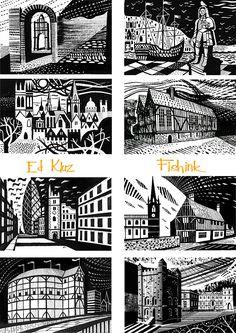 Ed Kluz . Beautiful Buildings as history is brought to life. Good Advertisements, Beautiful Buildings, Illustration Art, Illustrations, Travel Posters, Printmaking, Block Art, History, Uni