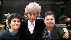 Look at Peter's hair! Definite Pertwee vibe!   Filming the Christmas special. With Rachel Talalay and @DaveDogFacedBoy twitter.