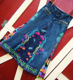 jean skirt ideas, my daughter would love this :)