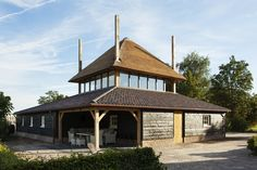 Just love those haystacks - van Houtum Architects Erp, the Netherlands Stables, Sustainability, Gazebo, Home And Garden, Construction, Outdoor Structures, House Styles, Houses, Modern