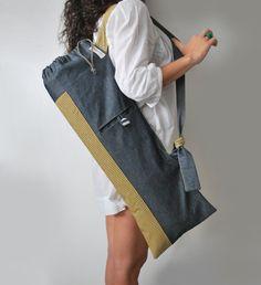 Handmade yoga mat bag Pilates bag Blue gray denim Yellow cotton Yoga tote Stylish women mat bag Yoga mat carrier Sports bag Gift for her