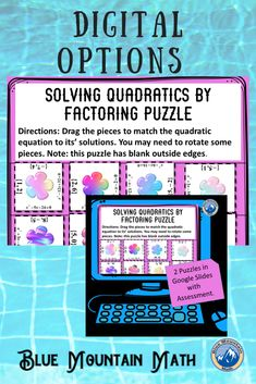 Students practice solving quadratics by factoring in these 2 puzzles. In the simpler level, the outside edges are blank, so if students are having difficulty, have them arrange the pieces so the blank sides are on the outside.In the more challenging level, the edges have additional problems/answers in the border to make solving a little more difficult. You can use the puzzles on different days, at stations or give the struggling students the simpler variation.
