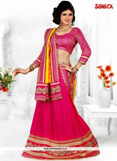 Looking amazing with attachment of pink chiffon designer lehenga. It has been beautifully designed with heavy border work and embroidery....