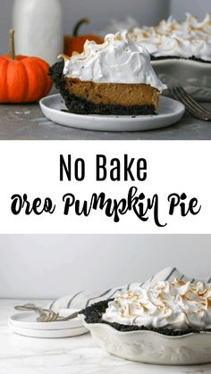 A spiced pumpkin pie with an oreo crust and toasted marshmallow meringue topping. This pumpkin oreo pie is pumpkin pie taken to a whole new level! Thanksgiving Desserts Easy, Holiday Desserts, Holiday Treats, Happy Thanksgiving, Holiday Recipes, No Bake Pumpkin Pie, Pumpkin Pie Recipes, Spiced Pumpkin, Baked Pumpkin