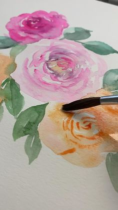 How to paint watercolor floral. Abstract Watercolor Art, Watercolor Illustration, Floral Watercolor, Simple Watercolor, Watercolor Trees, Tattoo Watercolor, Watercolor Landscape, Watercolor Animals, Watercolor Background