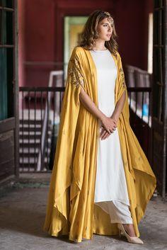 Mustard Cape Jacket With Kurta & Palazzo Indian Fashion Dresses, Dress Indian Style, Indian Designer Outfits, Indian Outfits, Fashion Outfits, Womens Fashion, Designer Dresses, Dress Outfits, Mode Abaya