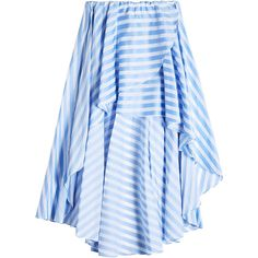 Caroline Constas Striped Cotton Skirt (32.470 RUB) ❤ liked on Polyvore featuring skirts, stripes, beach skirt, frilly skirt, blue high low skirt, cotton skirts and blue cotton skirt