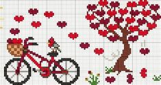 Ideas Embroidery Stitches Heart Charts For 2019 Crotchet Patterns, Embroidery Patterns Free, Embroidery Hoop Art, Loom Patterns, Cross Stitch Embroidery, Cross Stitch Heart, Cross Stitch Flowers, Cross Stitch Designs, Cross Stitch Patterns