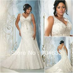 BZ005 Free Shipping New Arrival Spaghetti straps V neck Appliqued Beaded Mermaid Organza Plus size Wedding dress 2014 US $216.00