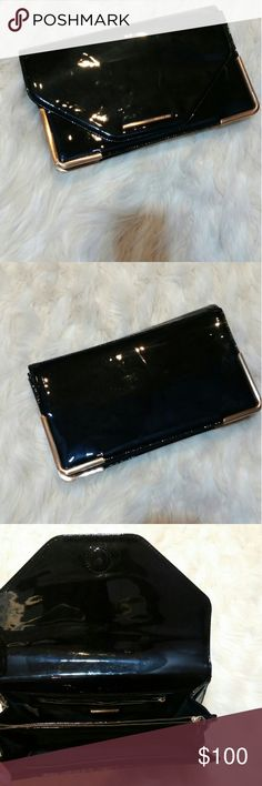 Racheal roy patent  purse Worn 3x black patent and gold. Great  Condition . Rachel Roy Bags Clutches & Wristlets