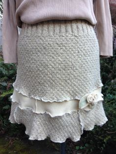 Upcycled Off White Sweater Skirt Hand Knit by danamurphydesigns, $44.00