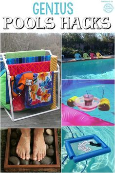 Hacks + Coolest Pool Toys Ever! Pool Hacks + Coolest Pool Toys Ever!Pool Hacks + Coolest Pool Toys Ever! Jacuzzi, Do It Yourself Pool, Piscina Diy, Pool Organization, Pool Storage, Pool Hacks, Pool Care, Backyard Pool Landscaping, Landscaping Ideas
