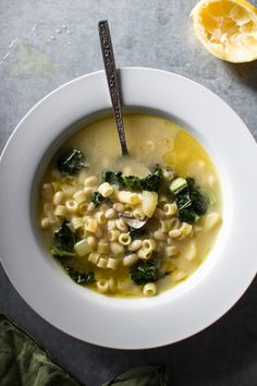 Lemony Soup with White Beans, Kale, and Pasta