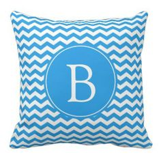 Bright sky blue chevron monogram pillow - Chevron is one of the most popular patterns to make a come back in recent years. These pretty pillows feature the fresh and classic look of chevron in beautiful shades of blue.#chevron #chevronthrowpillows #prettythrowpillows #zigzag #blue Visit our site and browse our large collection of chevron throw pillows as well as thousands of other decorative accent throw pillows for your home. www.prettythrowpillows.com Teal Chevron, Chevron Monogram, Monogram Pillows, Chevron Throw Pillows, Shades Of Blue, Accent Decor, Pretty, Rv, Camper