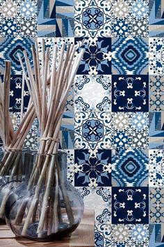 Carreaux bleu autocollants - Stickers de tuiles - tuiles de Backsplash de cuisine ou de salle de bains - PACK de 9 - SKU:BlueOnesTiles
