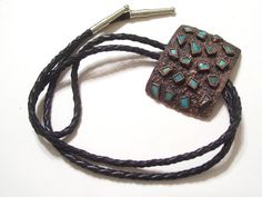 Vintage Copper Turquoise Bolo Tie  Bell Trading by TheCopperCat