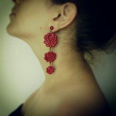 Matyó earring (hungarian)- handmade Polymer Clay Earrings, Hungary, Folk Art, Pretty, How To Make, Handmade, Jewelry, Design, Style